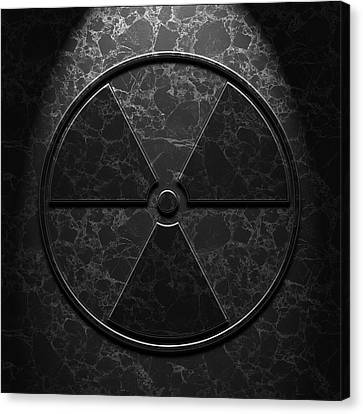 Canvas Print featuring the digital art Radioactive Symbol Black Marble Texture by Brian Carson