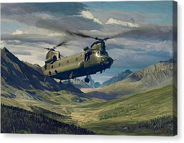 Raf Chinook Ch-47 On Exercise Canvas Print