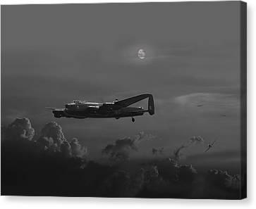 Raf Canvas Print - Raf Lancaster - Night Combat by Pat Speirs