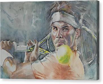 Australian Open Canvas Print - Rafa Nadal - Portrait 2 by Baris Kibar