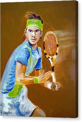 Rafa Nadal On The Ball Canvas Print by David Francke