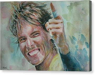 Australian Open Canvas Print - Rafa Nadal - Portrait 3 by Baris Kibar