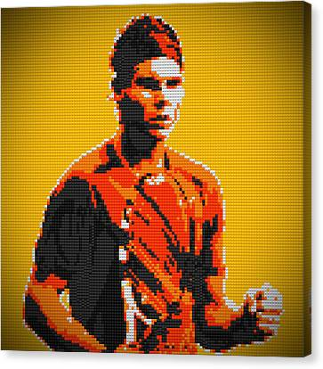 Rafael Nadal 2 Lego Digital Painting Canvas Print by Georgeta Blanaru