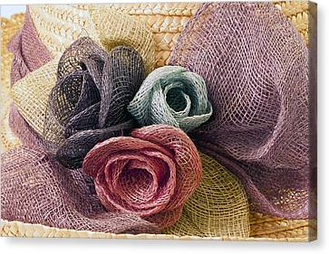 Canvas Print featuring the photograph Raffia Roses Macro by Sandra Foster
