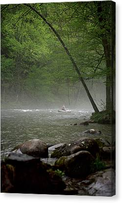 Rafting Misty River Canvas Print