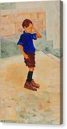 Canvas Print featuring the painting Forenza Vita Ragazzo In Via Salita Trappeto by Giovanni Caputo