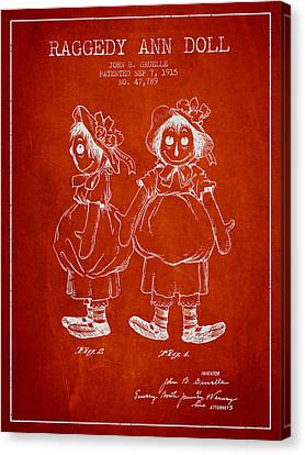 Raggedy Ann Doll Patent From 1915 - Red Canvas Print