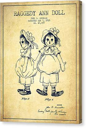 Doll Canvas Print - Raggedy Ann Doll Patent From 1915 - Vintage by Aged Pixel
