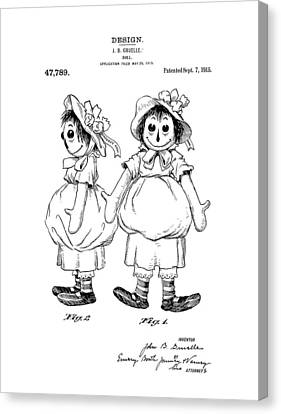 Toy Store Canvas Print - Raggedy Ann Patent Drawing by Dan Sproul