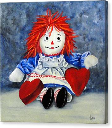 Raggedy Ann With Hearts Canvas Print by Helen Eaton