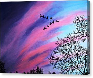 Raging Sky And Canada Geese Canvas Print