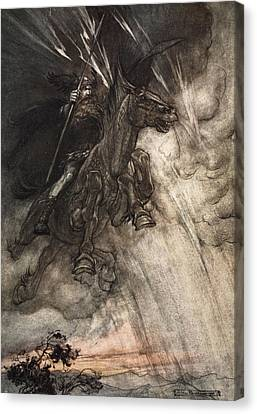 Raging, Wotan Rides To The Rock! Like Canvas Print by Arthur Rackham
