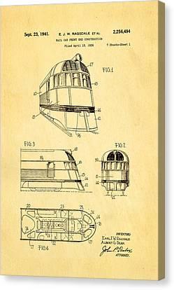 Ragsdale Pioneer Zephyr Train 3 Patent Art 1941 Canvas Print