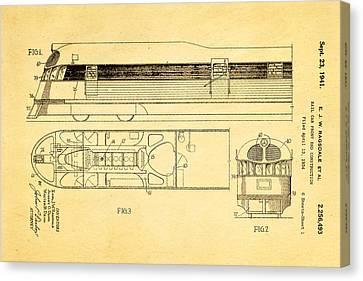 Ragsdale Pioneer Zephyr Train Patent Art 1941 Canvas Print