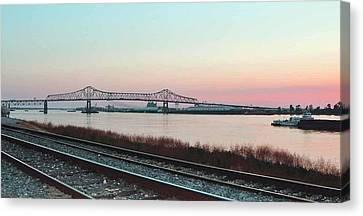 Canvas Print featuring the photograph Rail Along Mississippi River by Charlotte Schafer