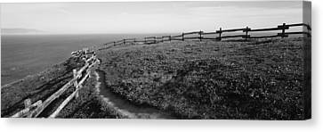 Rail Fence At The Coast, Point Reyes Canvas Print by Panoramic Images