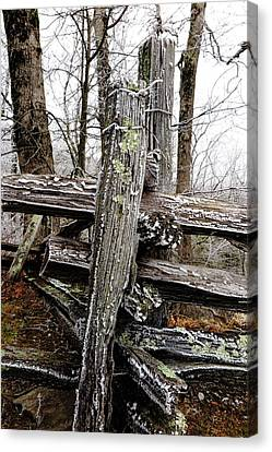 Rail Fence With Ice Canvas Print