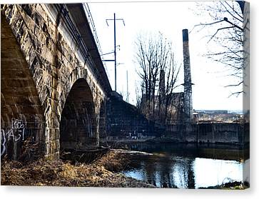 Rail Road Bridge Over The Brandywine Creek Downingtown Pa Canvas Print by Bill Cannon
