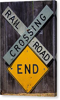 Train Crossing Canvas Print - Rail Road Crossing End Sign by Garry Gay