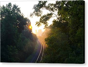 Rail Road Sunrise Canvas Print by Bill Cannon