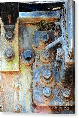 Rail Rust - Abstract - Nuts And Bolts Canvas Print by Janine Riley