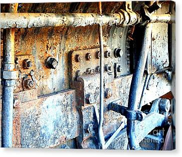 Rail Rust - Locomotive - Nuts And Bolts Canvas Print by Janine Riley