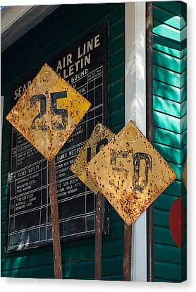 Canvas Print featuring the photograph Rail Signs by Randy Sylvia