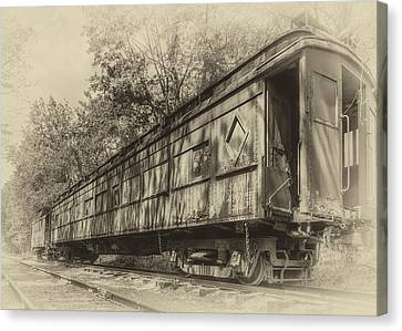 Railcar And Caboose Canvas Print