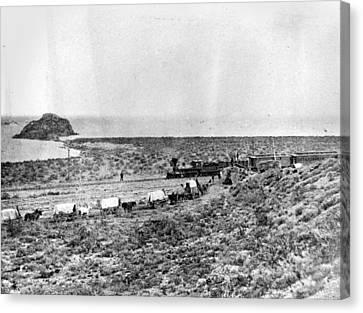 Conestoga Canvas Print - Railroad And Wagon Train by Granger