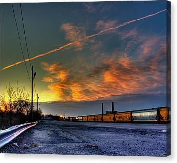 Railroad At Dawn Canvas Print by Tim Buisman