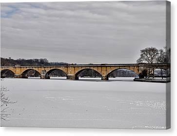 Philadelphia Phillies Canvas Print - Railroad Bridge Over The Schuylkill River by Bill Cannon