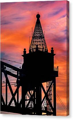 Railroad Bridge Sunset Canvas Print