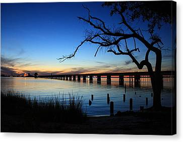 Railroad Bridge Sunset Canvas Print by Steve Phillips