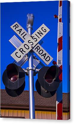 Railroad Crossing Canvas Print by Garry Gay