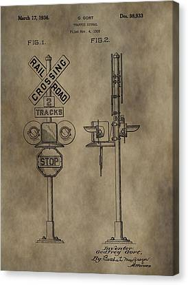 Railroad Crossing Patent Canvas Print by Dan Sproul