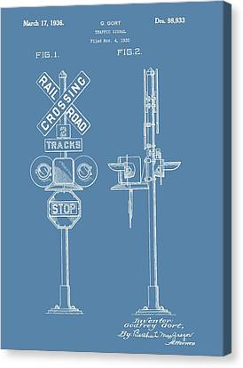 Railroad Crossing Patent On Blue Canvas Print by Dan Sproul