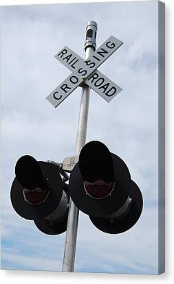 Canvas Print featuring the photograph Railroad Crossing by Ramona Whiteaker