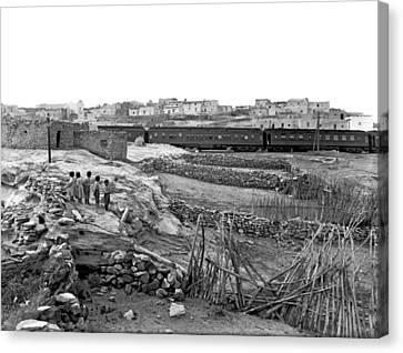 Railroad In Laguna Pueblo Canvas Print by Underwood Archives
