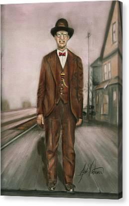 Railroad Man Canvas Print by Leah Wiedemer