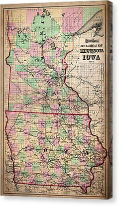 Railroad Map Of Minnesota And Iowa 1873 Canvas Print by Mountain Dreams