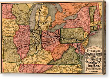 Railroad Map Of The Eastern United States 1874 Canvas Print by Mountain Dreams