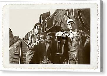 Railroad Men Canvas Print by Susan Leggett