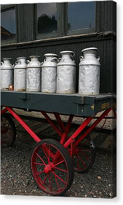 Fast Shipping Canvas Print - Railroad Milk Cans by Art Block Collections