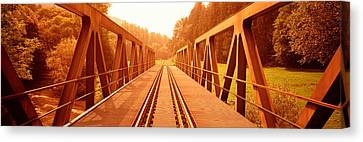 Railroad Tracks And Bridge Germany Canvas Print by Panoramic Images