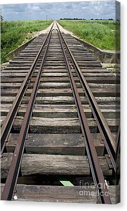 Railroad Tracks Canvas Print by Sami Sarkis