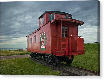 Railroad Train Red Caboose On Prince Edward Island Canvas Print by Randall Nyhof