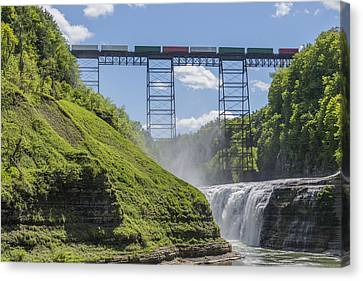 Railroad Trestle And Upper Falls At Letchworth State Park Canvas Print