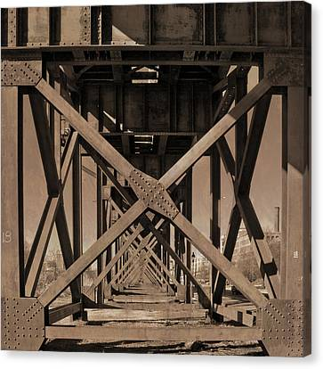 Canvas Print featuring the photograph Railroad Trestle Sepia by Jemmy Archer