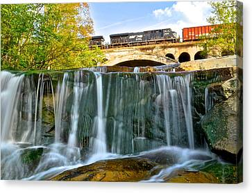 Railroad Waterfall Canvas Print by Frozen in Time Fine Art Photography