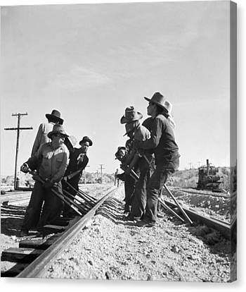 Railroad Workers Canvas Print by Jack Delano